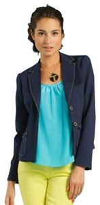 Trina Turk Artworks Jacket Navy Ponte Contrast Stitch Wear To Work Blue Blazer
