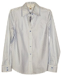 Casual Corner Blouse Button Down Shirt blue and white