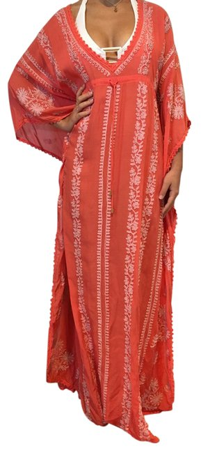 Item - Coral Long Vneck Embroidered Kaftan with Drawstring Cover-up/Sarong Size OS (one size)
