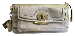 Coach Lurex Signature Wristlet Beige/Yellow lining/Gold Clutch