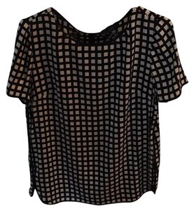 J.Crew Silk Top Black and white