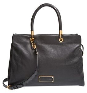 Marc by Marc Jacobs Leather Large Flap Satchel in BLACK