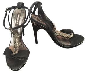Roberto Cavalli Lizard Ornament Stiletto Black Sandals
