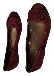 Naturalizer Ruffle Toe New Without Tags Maroon, Dark Red Flats