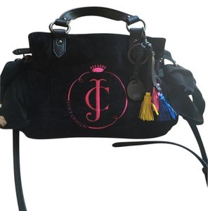 Juicy Couture Velour Pink Bows Satchel in Black