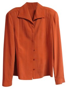 Dana Buchman Silk Button-down Top Harvest