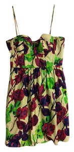 Moda International short dress Green purple and blue floral on Tradesy