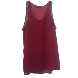 Love Culture Top Maroon and silver tone beads