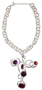 Sterling Silver Plated Thick Chain Link Statement Necklace