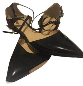 Gianvito Rossi Pointed Black Leather Black Patent Flats