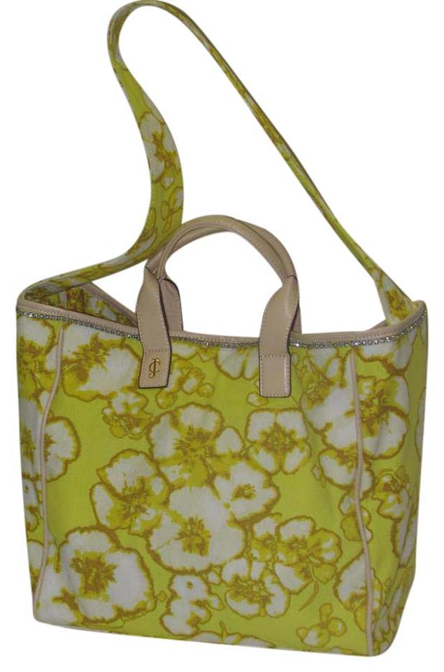 Juicy Couture Blue Gold Stones Glamour Yellow Beach Bag