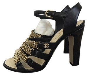 Chanel Quilted Leather Chain Black Sandals