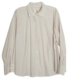 Talbots Blouse Button Down Shirt white, black and brown