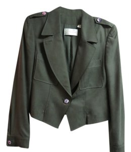 Dana Buchman Dana Buchman Classic One Button Silk Suit Jacket Olive Green