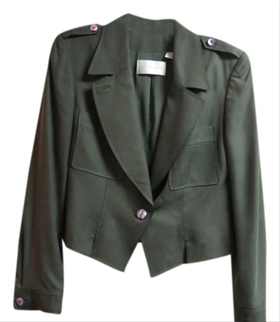 Preload https://item1.tradesy.com/images/dana-buchman-olive-green-classic-one-button-silk-jacket-skirt-suit-size-10-m-1729375-0-0.jpg?width=400&height=650