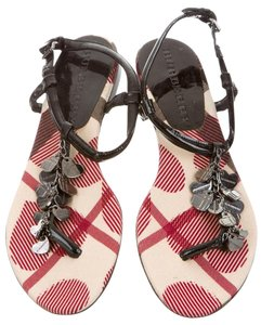 Burberry Ankle Strap Nova Check Plaid Silver, Black, Red Sandals