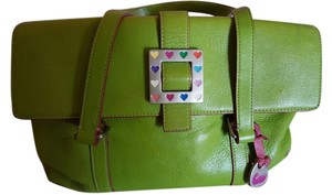 Dooney & Bourke Satchel in Lime green and pink