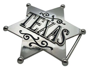 Other New Men Western Polished Silver Metal Texas Lone Star Big Sheriff Badge Belt Buckle