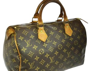 Louis Vuitton Canvas Leather Satchel in Monogram brown