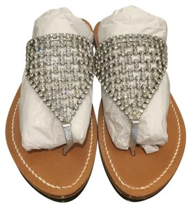 K. Jacques Embellished Clear Beading Silver Sandals