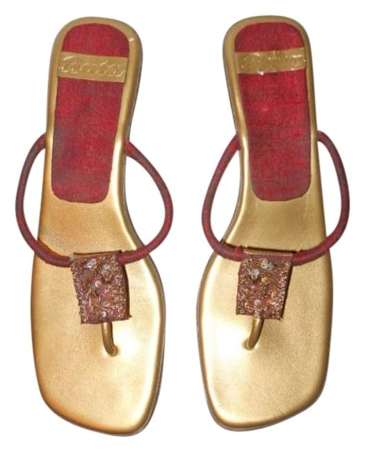 Item - Red & Gold Thong Sandals Size US 9.5 Regular (M, B)