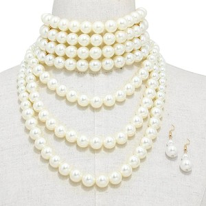 Multistrand Pearl Choker Statement Necklace and Earrings