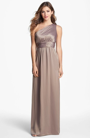 Amsale Truffle Charmeuse 677102 One Shoulder Formal Bridesmaid/Mob Dress Size 6 (S)
