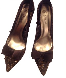 J. Renee Satin Mesh Lace Sequin Bow Pointy Stiletto black and gold Formal