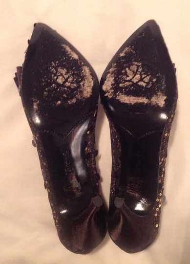 J. Reneé Satin Mesh Lace Sequin Bow Pointy Stiletto black and gold Formal