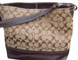 Coach Purse Monogram Leather Pocketbook Shoulder Purse Designer Tote in brown