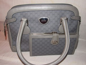 Gucci Rare Dr.'s Unique Grey/chrome Great Everyday Mint Vintage Wallet Is Available Satchel in grey small G logo coated canvas and leather