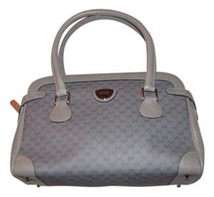 Gucci Rare Dr.'s Unique Grey/Chrome Mint Vintage Wallet Is Available Print Satchel in grey small G logo coated canvas and leather