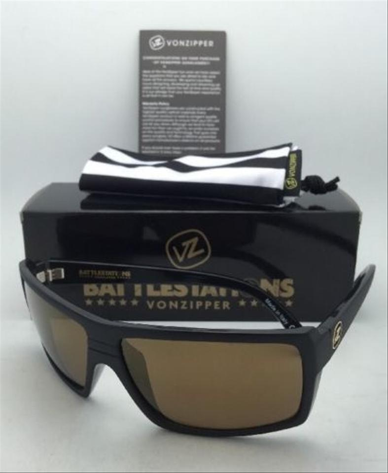 b9de48db64 Von Zipper Battlestations VONZIPPER Sunglasses VZ SNARK Black Satin   Gold  Frame w  Gold Mirror. 12345678910
