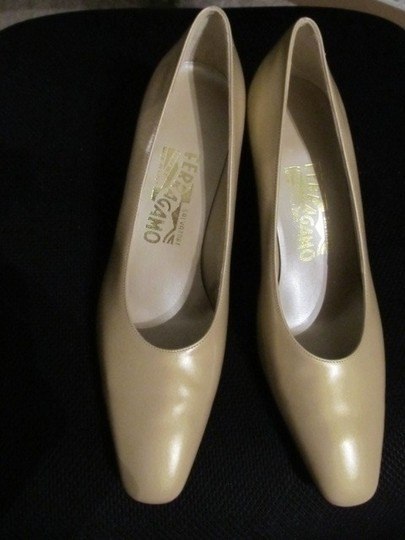 Salvatore Ferragamo Champagne Pumps
