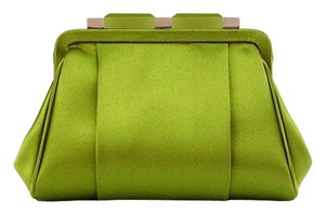 Oscar de la Renta Satin Evening Made In Italy Green Clutch