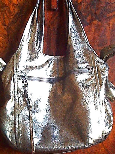 Kooba Designer Satchel in metallic soft gold almost silver