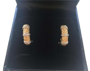 18k gold diamond (.19 ct) french clip basket weave earrings