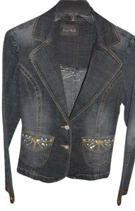 Fitted Jean Buttons Denim Blazer