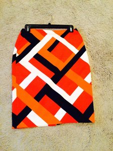 Ann Taylor Skirt orange, black and white graphic print