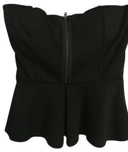 Forever 21 Strapless Strapless Zipper Top Black