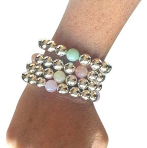 Neiman Marcus Silver Bead Stretch Bracelets, set of 4 with multicolor beads