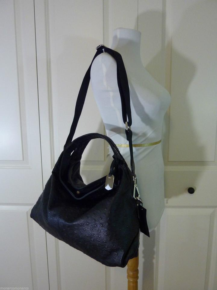 Hobo Bag Black M Embossed Furla Elisabeth S Ostrich Leather aAw0qP