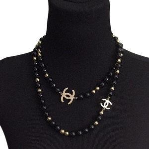 Chanel 2016 black golden long necklace