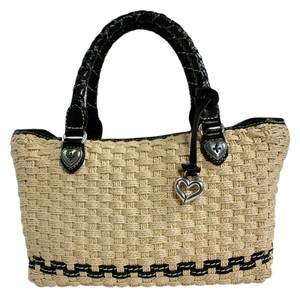 Brighton Straw Basket Leather Shoulder Bag