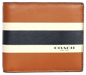 dd6d5974c308 Coach Brown Men Varsity Calf Leather Compact Id Wallet - Tradesy