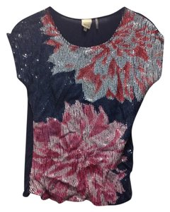 ecru Sequin Flowy Comfortable Top Navy/Pink/Blush/Cherry/Silver
