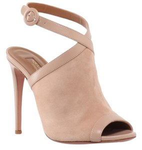 Aquazzura Suede Soft Beige Sandals