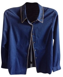 Talbots Button Down Shirt Denim Blue