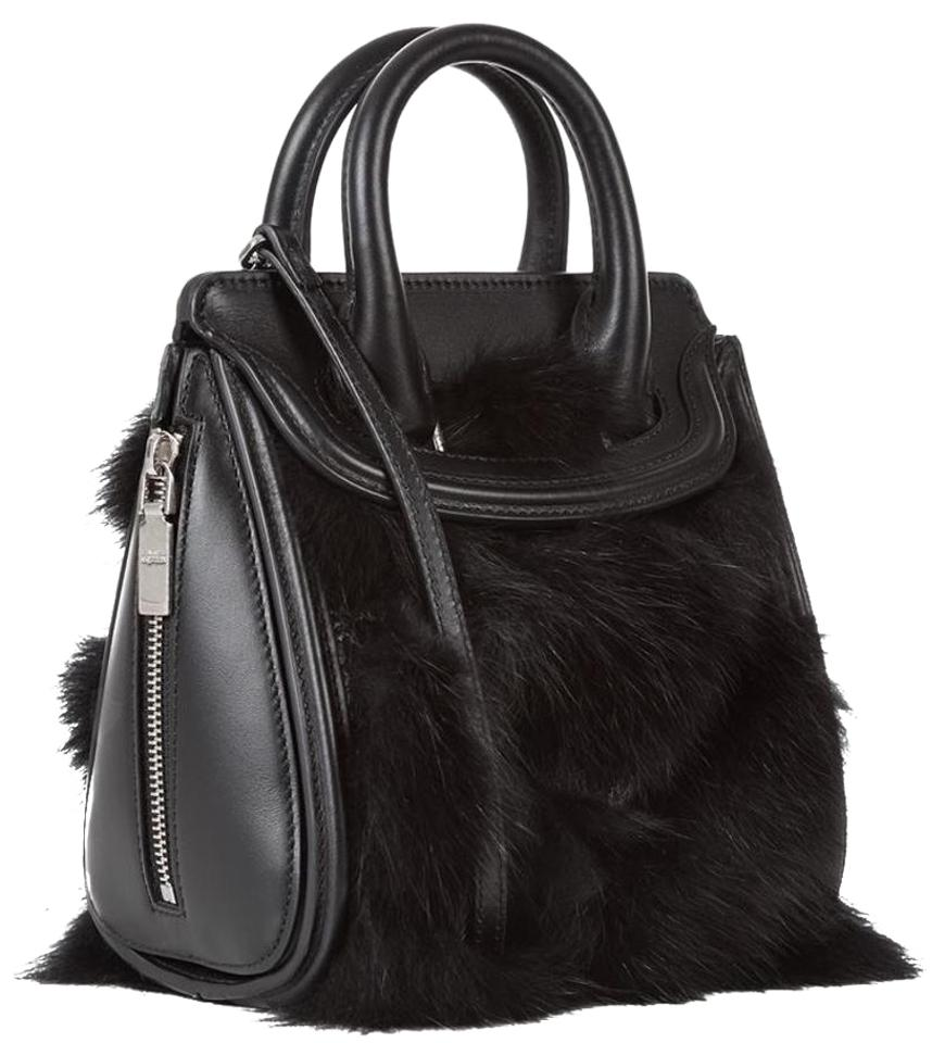 1aff2168d6154 Alexander McQueen Mini Trim Heroine Black Leather and Fur Cross Body ...