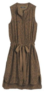 Madewell short dress leopard green Silk Silk on Tradesy